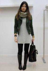 Botas de canos longos com roupas mais curtas.